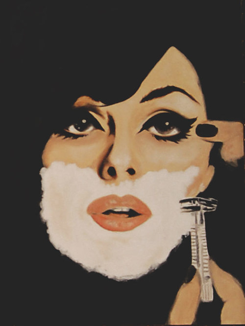 A portrait of a woman shaving her face