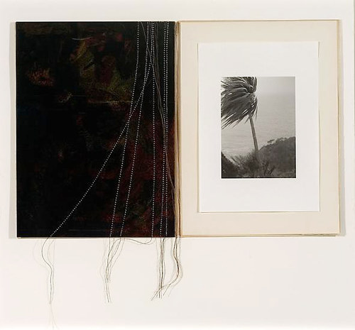 An artwork with  two images printed on vintage paper