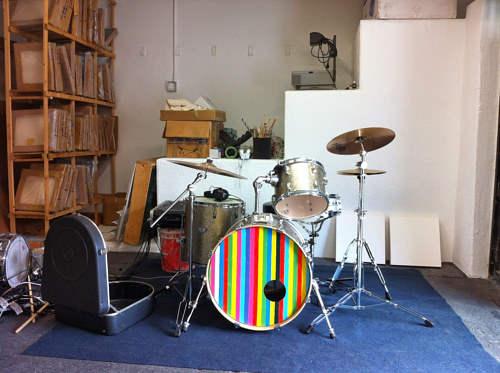 A photo of a drum kit in Tomory Dodge's studio