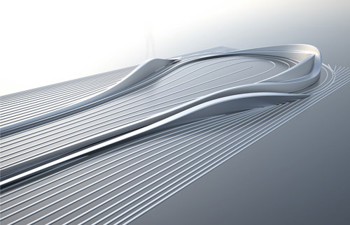 A rendering of Zaha Hadid's gold course concept