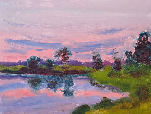 Pink sunset painting at a lake