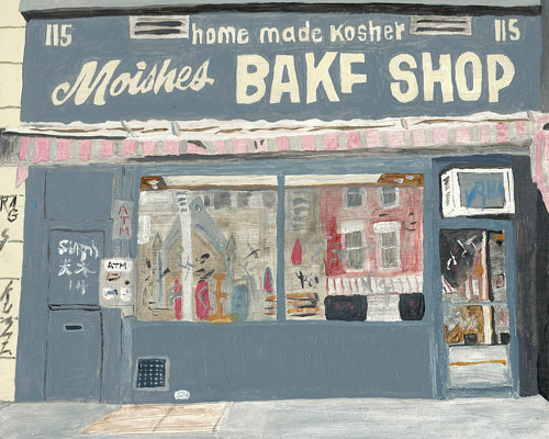 An acrylic painting of the front of a bakery