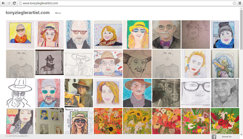 A screen capture of Tony Ziegler's art website