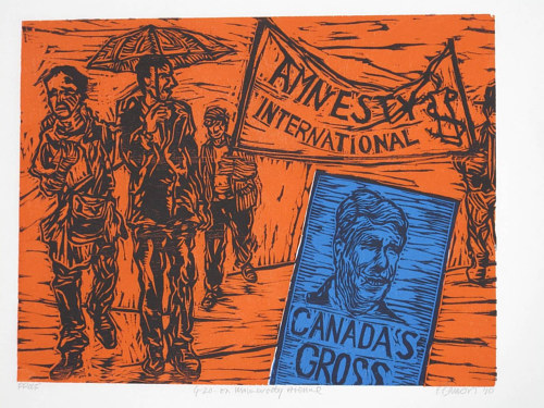 A woodcut print of G20 protesters in Canada