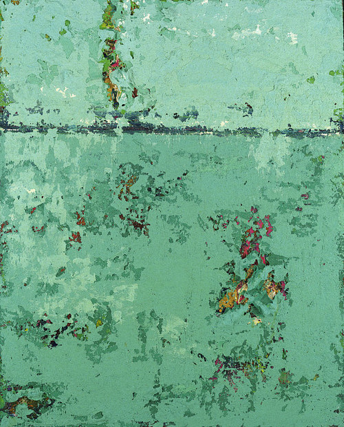 An abstract painting with overarching light green tones