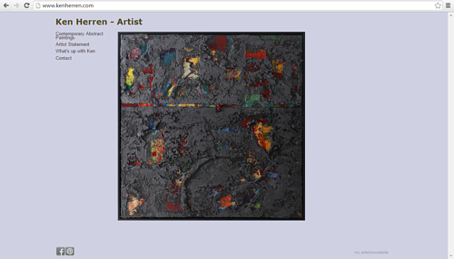 A screen capture of Ken Herren's artist website