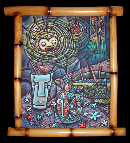 A tiki-themed painting framed in bamboo