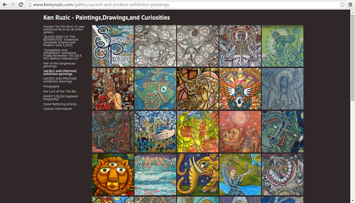 A screen capture of Ken Ruzic's art website
