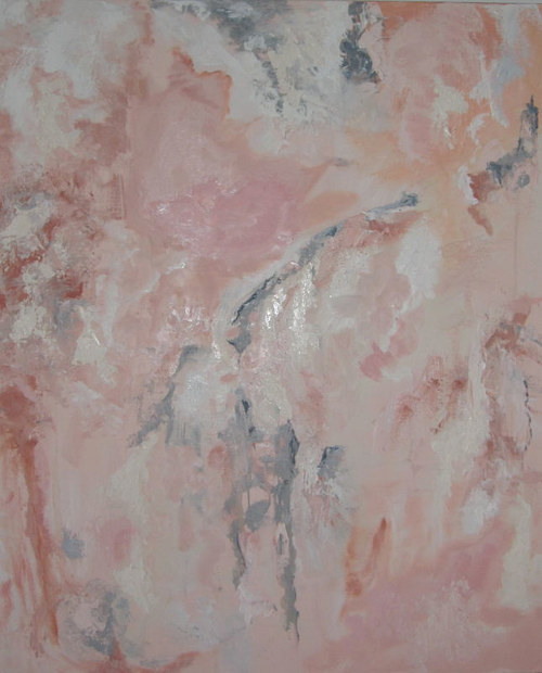 An abstract painting composed of pink shades
