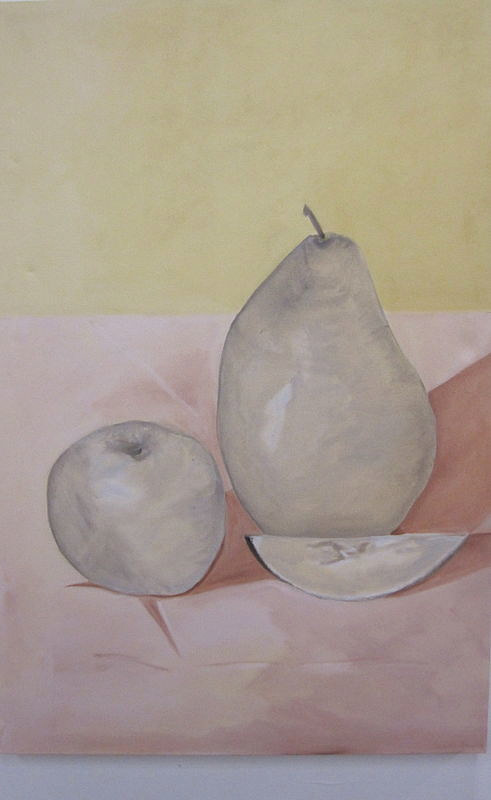 A pale pink painting of some fruit on a table