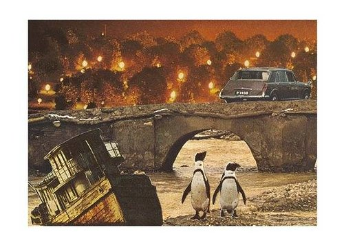 Collage of two penguins and end of the world in the background