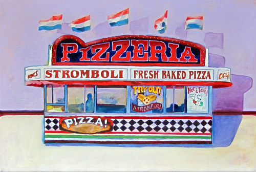 An oil painting of a carnival concession stand