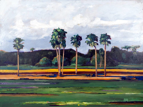 A painting of several palm trees on flat ground