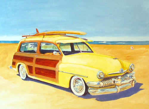 A painting of an old Mercedes with wood paneling