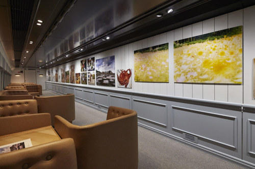 A train car featuring works by artist Naoki Ishikawa