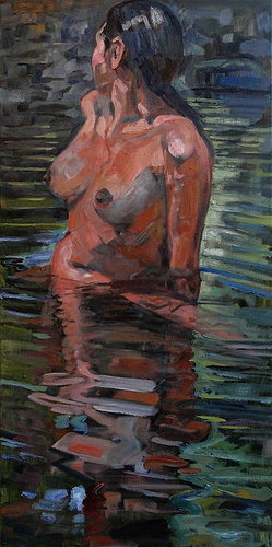 Nude painting of a woman in water