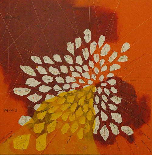 An abstract mixed media work with overarching tones of orange