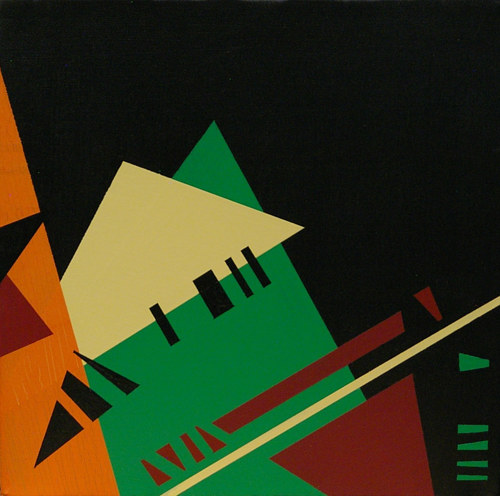 A painting of solid, clean geometric forms on a black background
