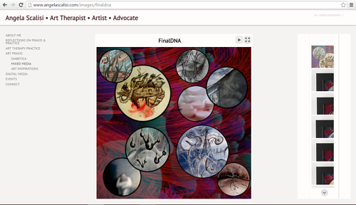 A screen capture of artworks on Angela Scalisi's website