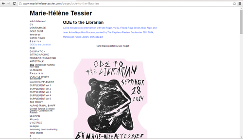 A screen capture of a page on Marie-Hélène Tessier's website