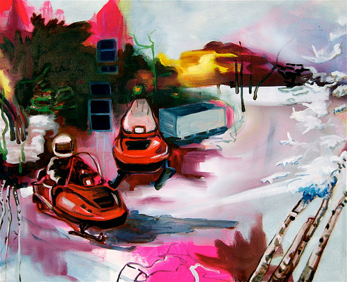 A painting of two snowmobiles in a loose, blended style