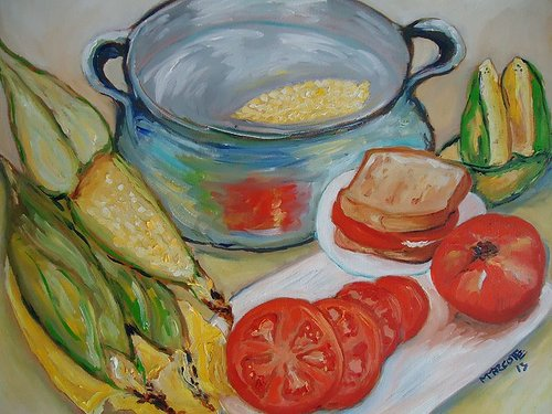 Painting of corn on the cob and tomatoes