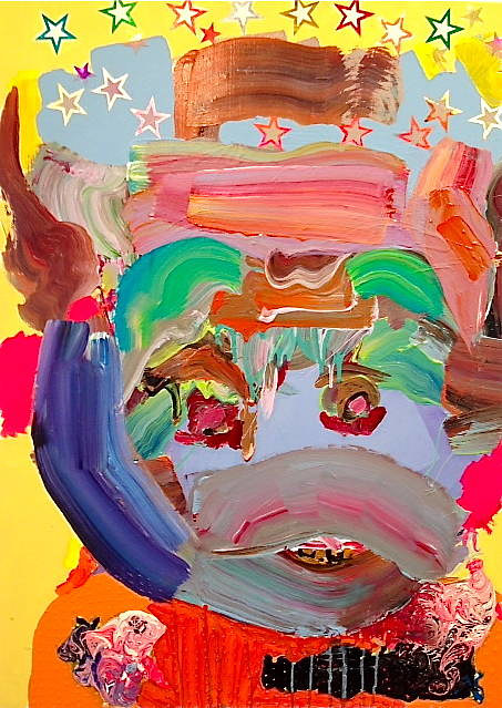 A painting of a face with abstracted features