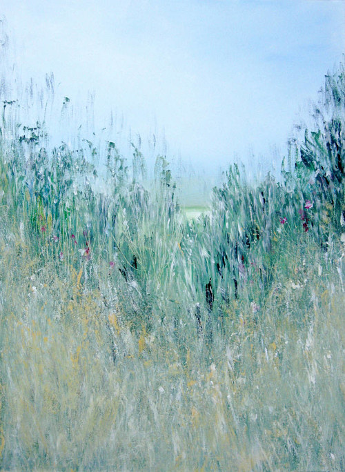 A painting of prairie grasses from a low vantage point
