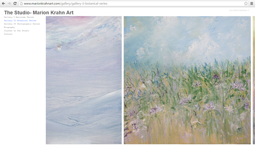 A screen capture of Marion Krahn's art website