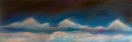 A long oil painting of clouds over Vermont