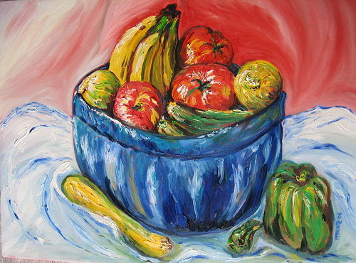 painting of fruits and vegetables in a bowel