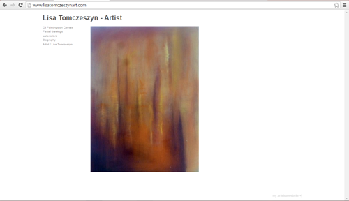 A screen capture of the front page of Lisa Tomczeszyn's website