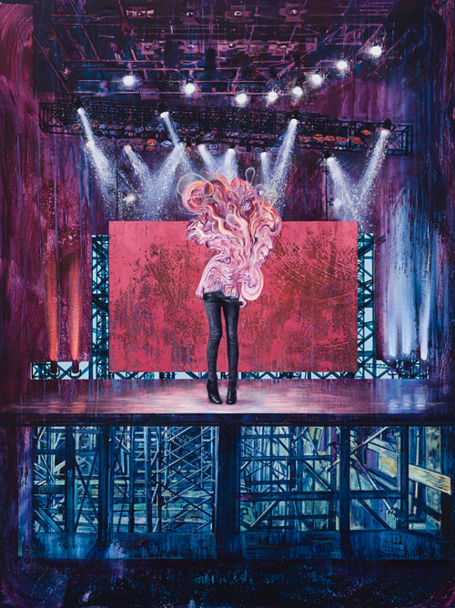 A painting of a strange figure on a stage