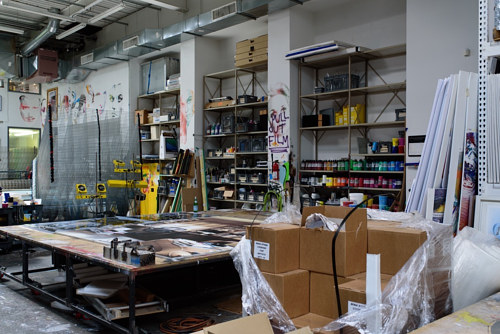 A photo of Urs Fischer's studio in New York