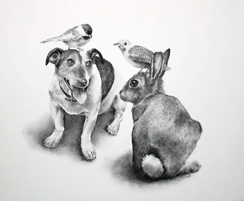 A black and white drawing of a dog and a rabbit with birds on their heads
