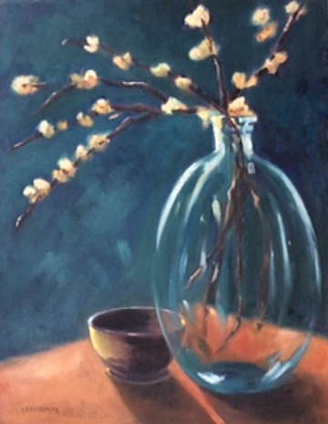 An oil painting of a sparse branch in a glass vase