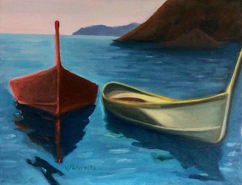 A painting of two boats moored on a quiet body of water