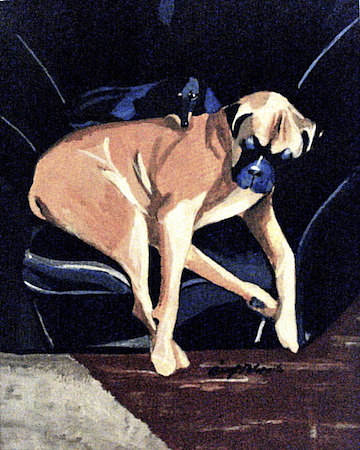 A painting of two dogs asleep in a chair