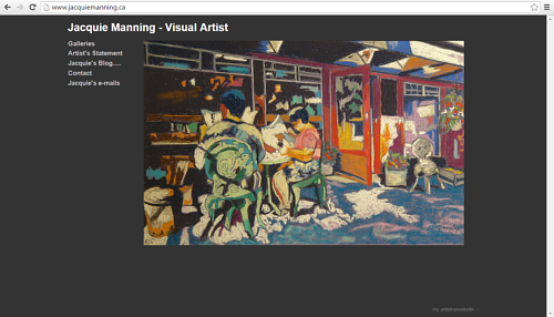 A screen capture of Jacquie Manning's art website