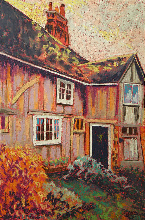 A painting of a heritage house with warm, red tones
