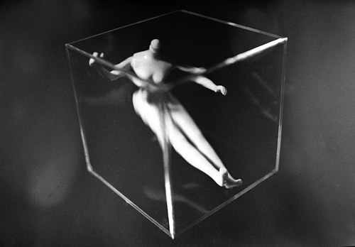 A photo of a headless doll body in a glass cube