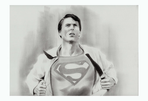 A drawing of Christopher Reeve as Superman