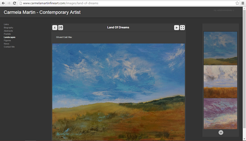 A screen capture of the landscape gallery on Carmela Martin's website
