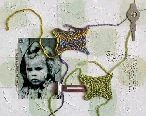mixed media artwork with string and a photograph
