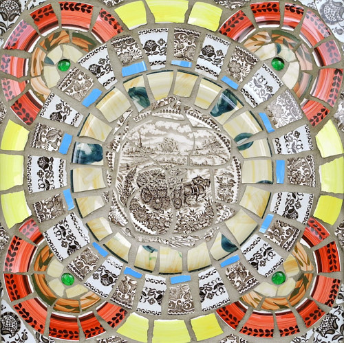 A ceramic mandala depicting abstract patterns