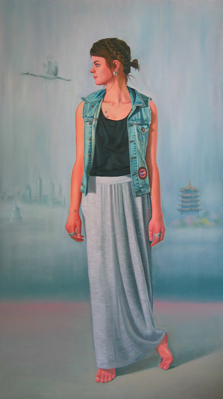 A painting of a modern woman standing and looking to the side