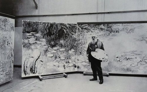 Monet With Palette in His Studio