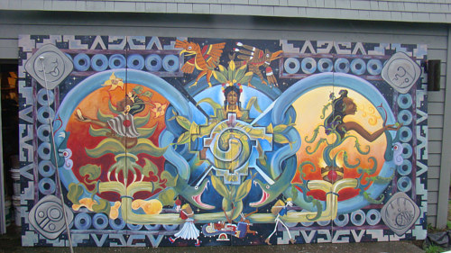 A mural painting celebrating the