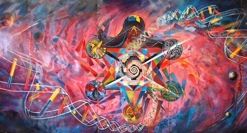 A mural depicting the sacred feminine spirit