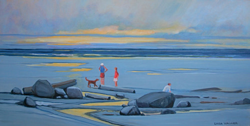A painting of several figures on a dusky beach